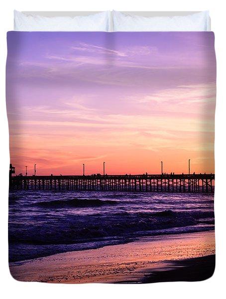 Newport Beach Pier Sunset In Orange County California Duvet Cover by Paul Velgos