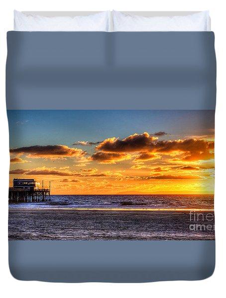 Newport Beach Pier - Sunset Duvet Cover by Jim Carrell