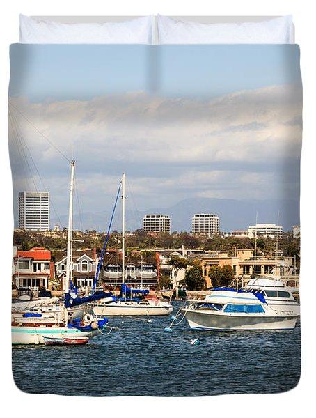 Newport Beach Skyline In Orange County California Duvet Cover by Paul Velgos