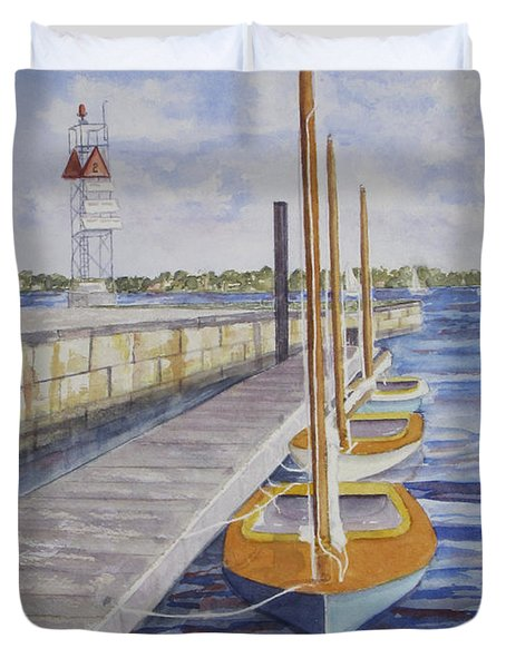 Duvet Cover featuring the painting Newport Boats In Waiting by Carol Flagg
