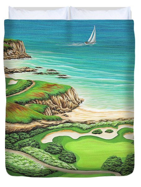 Duvet Cover featuring the painting Newport Coast by Jane Girardot