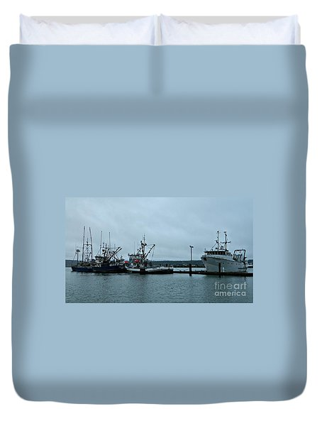 Newport Fishing Boats Duvet Cover by Chalet Roome-Rigdon