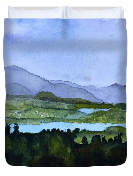 Duvet Cover featuring the painting Newport From Brownington Lookout by Donna Walsh