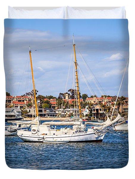 Newport Harbor Boats In Orange County California Duvet Cover by Paul Velgos