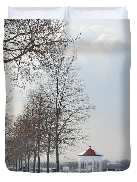 Duvet Cover featuring the photograph Newport Waterfront by Angela DeFrias