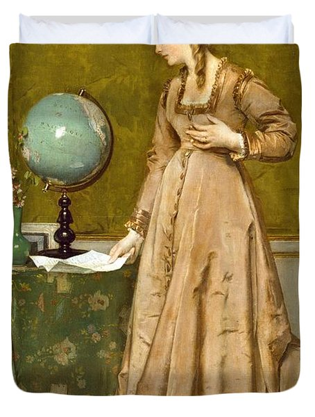 News From Afar Duvet Cover by Alfred Emile Stevens