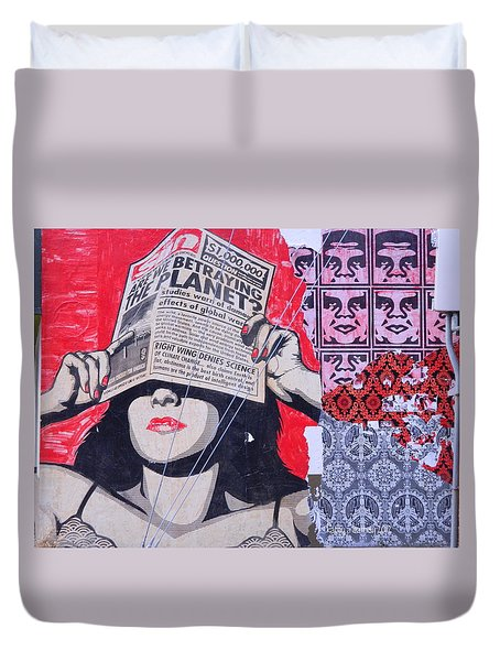 Duvet Cover featuring the photograph Shepard Fairey Graffiti Andre The Giant And His Posse Wall Mural by Kathy Barney