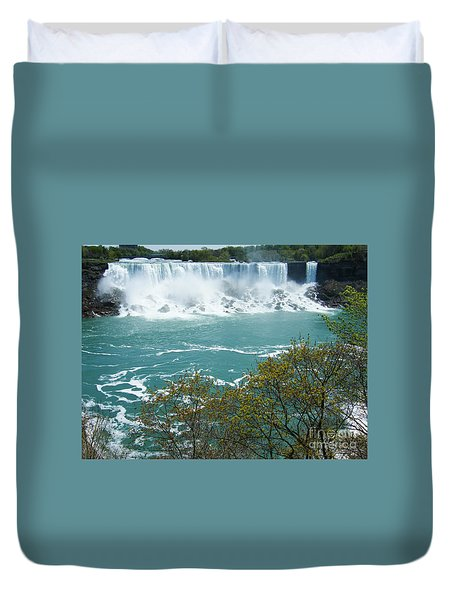 Duvet Cover featuring the photograph Niagara - American Falls In Spring by Phil Banks