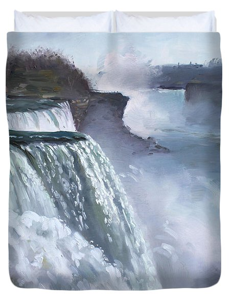 Niagara American Falls Duvet Cover by Ylli Haruni