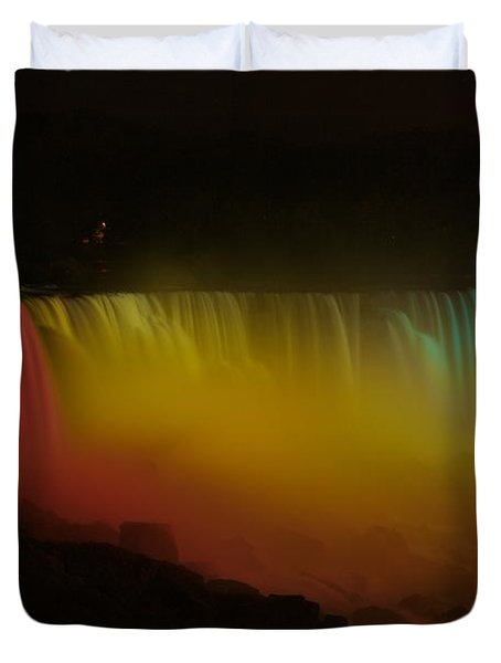 Duvet Cover featuring the photograph Niagara Falls A Glow by Dave Files