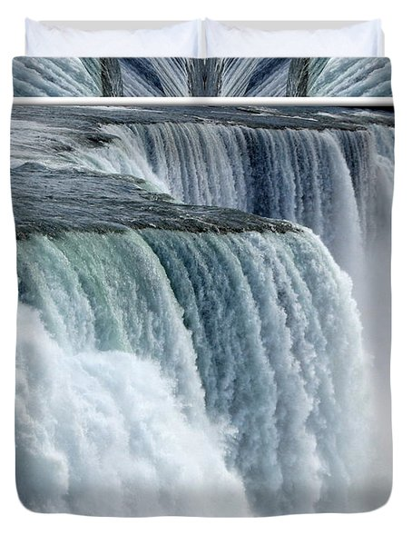 Niagara Falls American Side Closeup With Warp Frame Duvet Cover by Rose Santuci-Sofranko