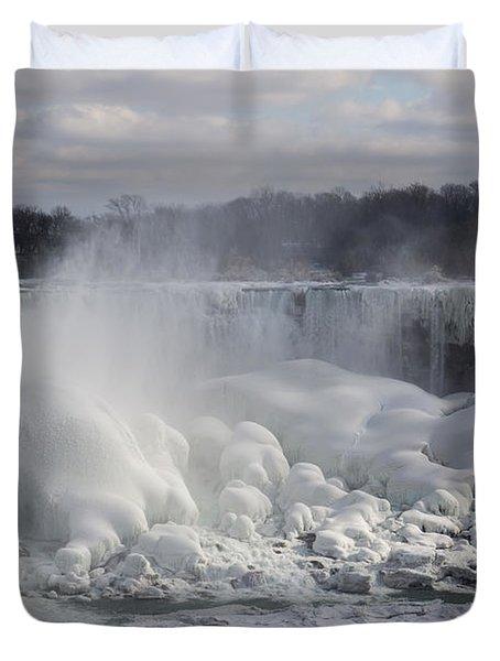 Niagara Falls Awesome Ice Buildup - American Falls New York State Usa Duvet Cover by Georgia Mizuleva