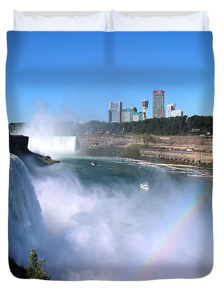Niagara Falls Double Rainbow Duvet Cover