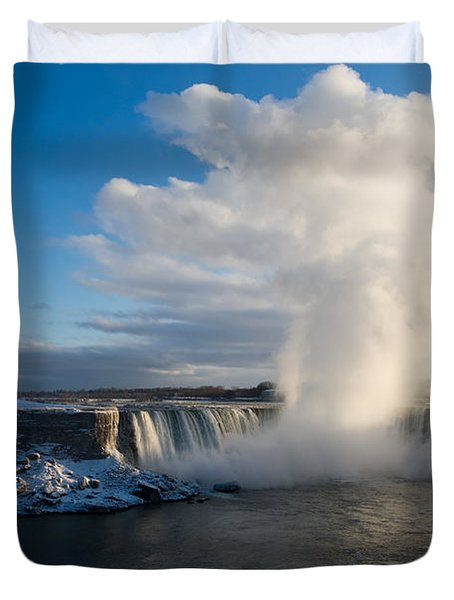 Niagara Falls Makes Its Own Weather Duvet Cover