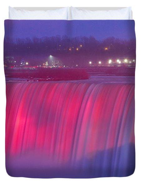 Niagara Falls Pretty In Pink Lights. Duvet Cover
