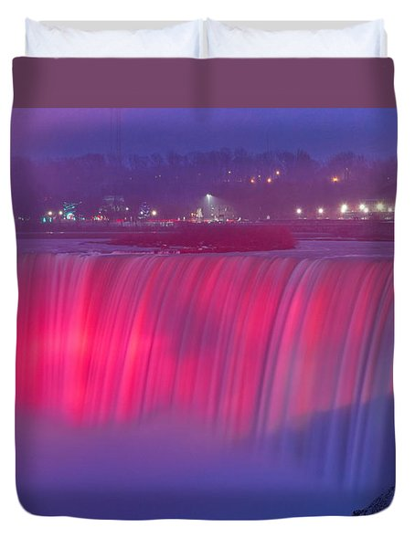 Niagara Falls Pretty In Pink Lights. Duvet Cover