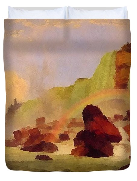 Niagara Falls With View Of Clifton House Duvet Cover by Jasper Francis