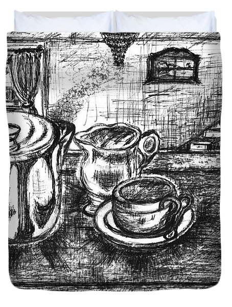 Duvet Cover featuring the drawing Nice Cup Of Tea by Teresa White