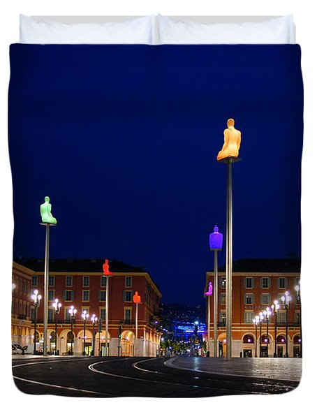 Duvet Cover featuring the photograph Nice France - Place Massena Blue Hour  by Georgia Mizuleva