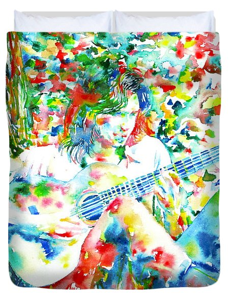 Nick Drake Playing The Guitar Under A Tree Watercolor Portrait Duvet Cover by Fabrizio Cassetta