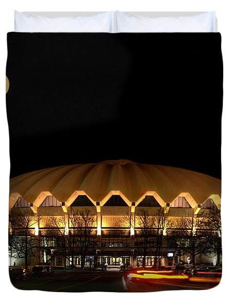 night and moon WVU basketball arena Duvet Cover by Dan Friend