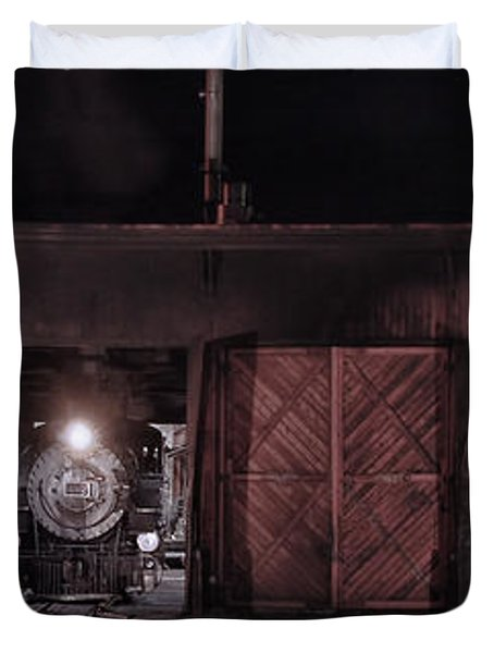 Night At The Durango Roundhouse Duvet Cover