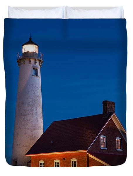 Night At The Lighthouse Duvet Cover