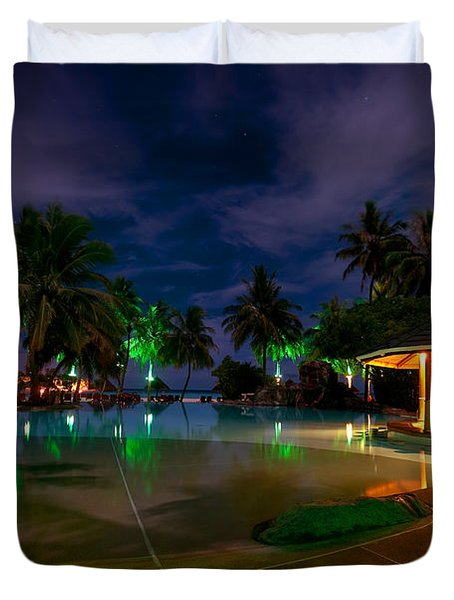 Night At Tropical Resort 1 Duvet Cover by Jenny Rainbow