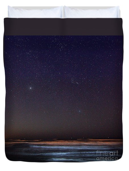 Duvet Cover featuring the photograph Night Beach by Martin Konopacki
