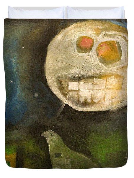Night Bird Harvest Moon Duvet Cover by Tim Nyberg
