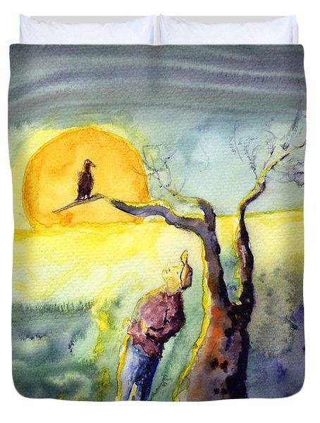 Night Bird Omen Duvet Cover