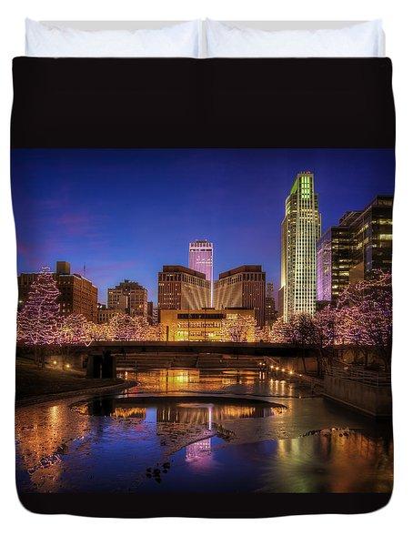 Night Cityscape - Omaha - Nebraska Duvet Cover by Nikolyn McDonald