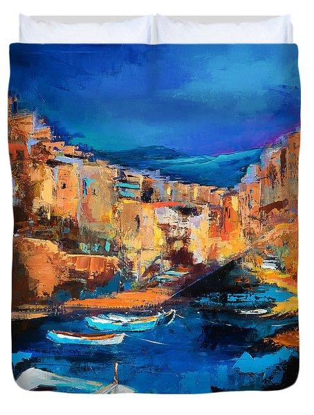 Night Colors Over Riomaggiore - Cinque Terre Duvet Cover