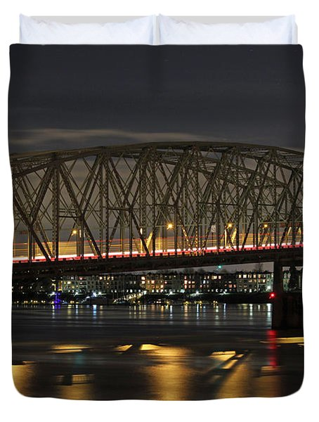 Night Crossing At I-5 Duvet Cover