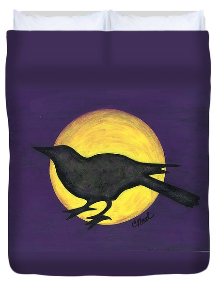 Night Crow On Purple Duvet Cover