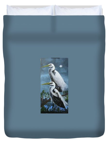 Night Egrets Duvet Cover