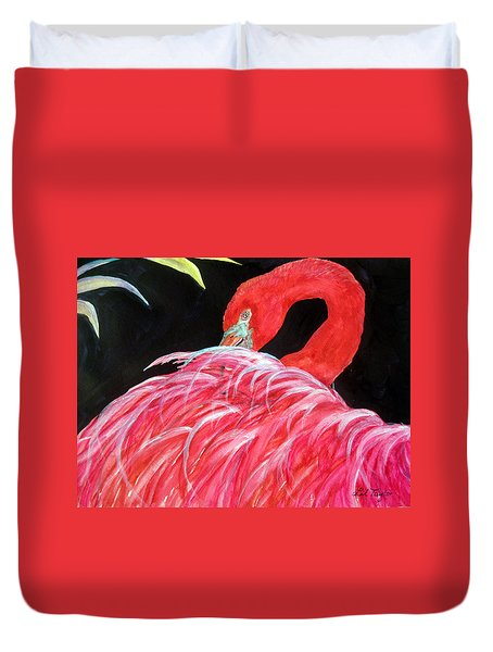 Night Flamingo Duvet Cover by Lil Taylor