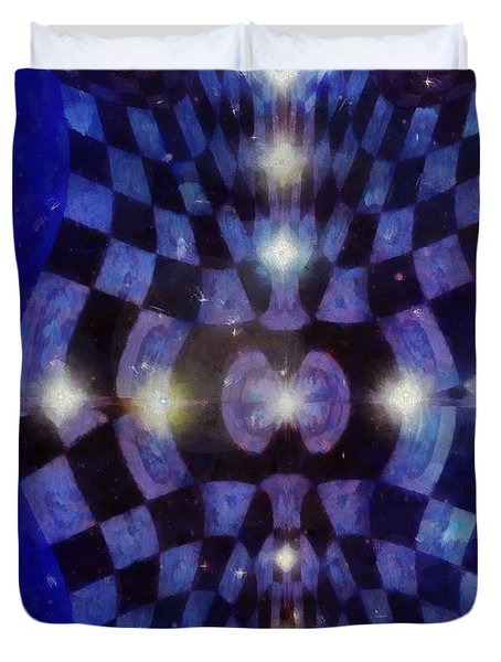 Duvet Cover featuring the painting Night Life Dreams by Mario Carini