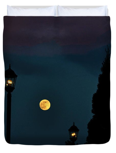 Night Lights Duvet Cover by Lydia Holly