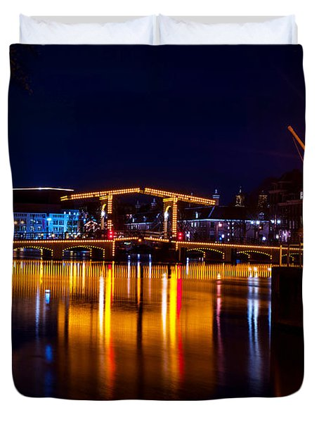 Night Lights On The Amsterdam Canals 1. Holland Duvet Cover by Jenny Rainbow