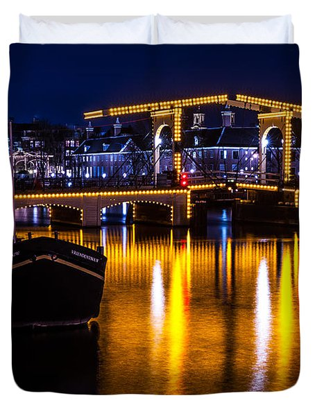 Night Lights On The Amsterdam Canals 3. Holland Duvet Cover by Jenny Rainbow