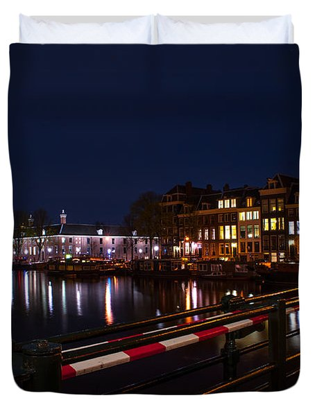 Night Lights On The Amsterdam Canals 5. Holland Duvet Cover by Jenny Rainbow