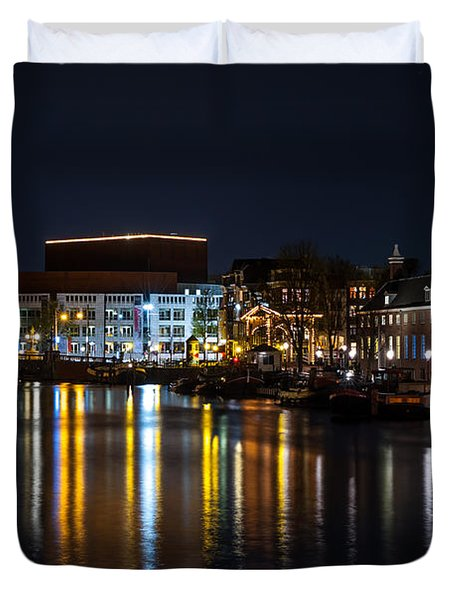 Night Lights On The Amsterdam Canals 6. Holland Duvet Cover by Jenny Rainbow