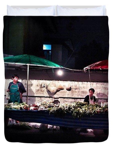Night Market In Thailand Duvet Cover