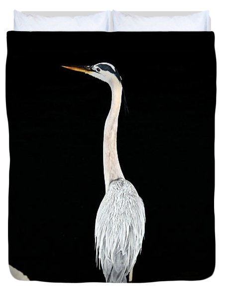 Night Of The Blue Heron  Duvet Cover