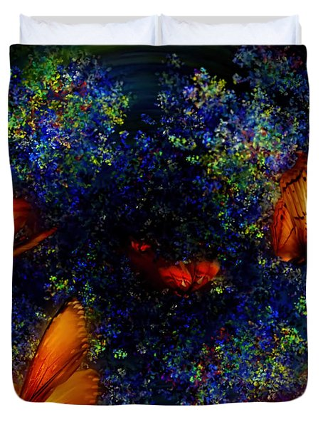 Duvet Cover featuring the digital art Night Of The Butterflies by Olga Hamilton