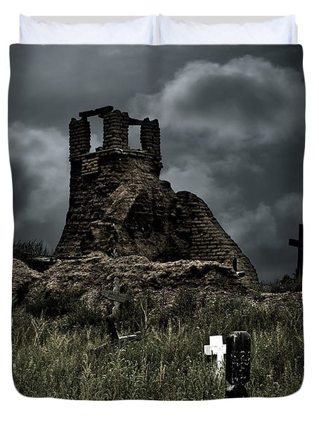 Night Over Taos Pueblo New Mexico Duvet Cover by Christine Till