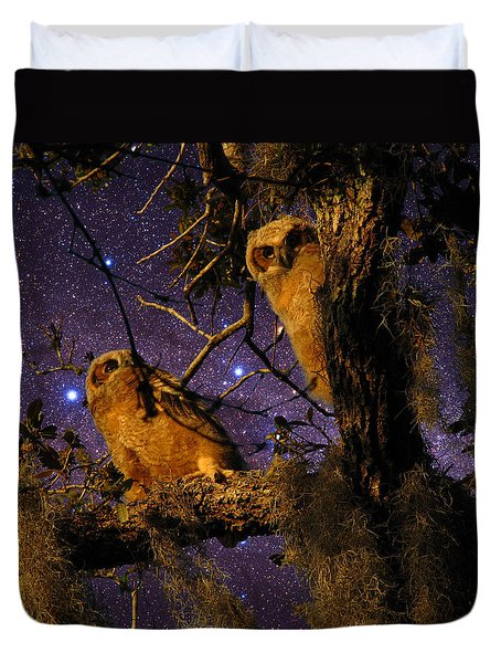 Night Owls Duvet Cover by Phil Penne