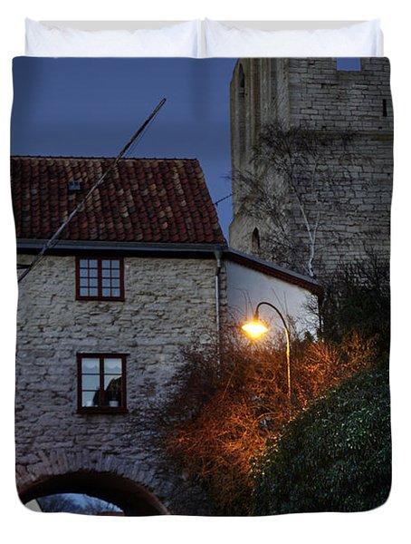 Night Scene In Medieval Town Duvet Cover by Ladi  Kirn