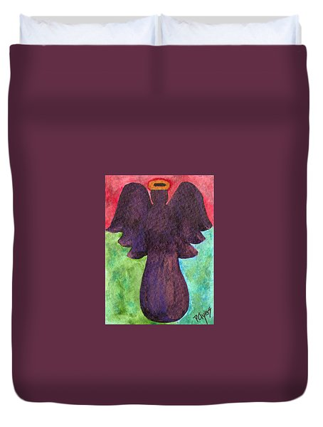 Duvet Cover featuring the painting Night Shift Angel by Paula Ayers